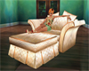 Cream silk chair settee