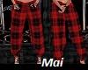 red pyjamas jeans