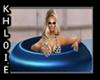 blue pool float poses
