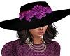 Brim hat with purple