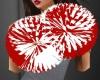 -ks- Red and White Poms