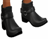 Blk Leather Ankle Boots
