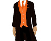 black suit orange trims