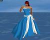 blue/white wedding dress