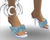 [X] teal Fuzzy Heels