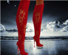 Knee Hi Red Scull Boots