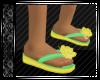 Yellow & Green Flip Flop
