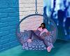 Blue white swing chair