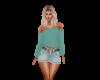 Light Jean Skirt W/Belt