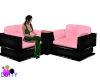 candy pink black chairs