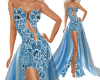 Blue Flower Lace Gown