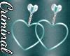Teal Heart Earrings