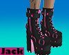 -B- Pink Leather Boots