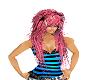 black/pink emo hair