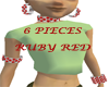 (KK)6PC RUBY RED GEMS