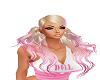 blond pink pony tails