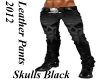 Skull Blk Leather Pants