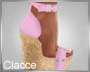 C pink cork heels