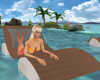 Wood Pool Float w/gray
