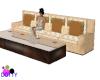 Creme sofa with table