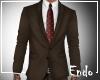 Brown suit burgundy tie