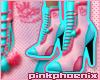 Aqua/Pink Cout Stilettos
