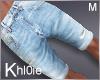 K light blue rip shorts