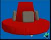 Crimson Red Round Couch