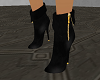 leather gold zip boots