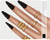 $Black Nails+Gold Rings