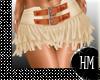 Cream Fringed Skirt