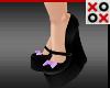 Purple Bow Wedge Heels
