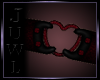 {J} Heart Armband |Red L