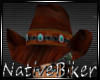 His brown cowboy hat